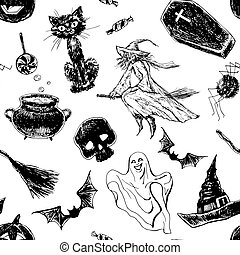 Hand drawn Halloween pattern
