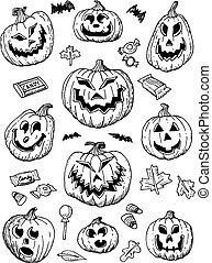 Hand Drawn Halloween Pumpkins