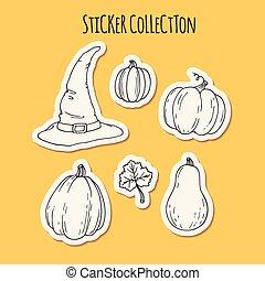 Hand drawn halloween sticker collection