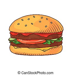 Hand drawn hamburger background. Vector illustration.