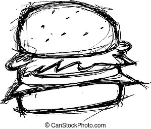 hand drawn hamburger