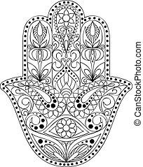 Hand Drawn Hamsa Symbol Of Fatima Ethnic Amulet Common In Indian Arabic