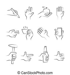 Hand drawn hand icons with tools and other objects