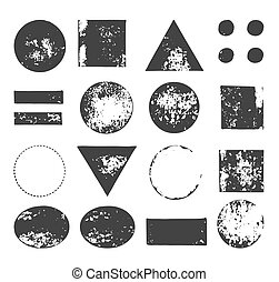 hand drawn, handcrafted, handmade stamp set and ink stains, textures, abstract shapes