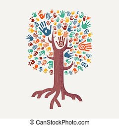 Hand drawn handprint tree for community help - Hand tree...