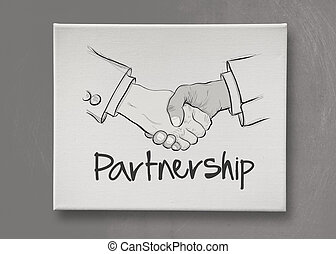 hand drawn handshake sign as partnership business concept -...