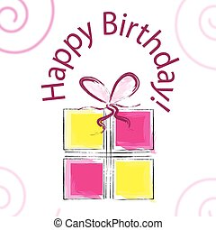 hand drawn happy birthday card vector with gift box