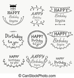 Hand Drawn Happy Birthday Typographic Set.