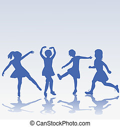 Hand drawn happy children silhouettes playing