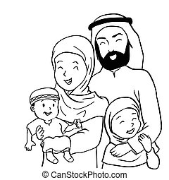 Hand drawn Happy Muslim Family-Vector Cartoon Illustration