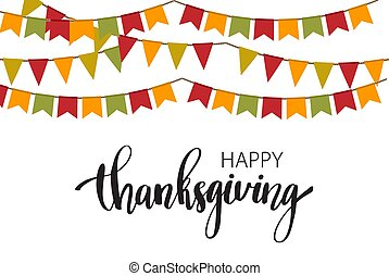 Hand drawn Happy Thanksgiving typography poster. Celebration text for postcard, icon or badge.