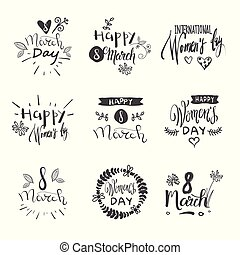 Hand Drawn Happy Women Day Badges Set Creative Grunge Lettering Sketch On White Background
