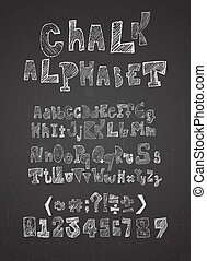 Hand drawn hatched chalk alphabet vector, uppercase, lowercase, numbers and symbols