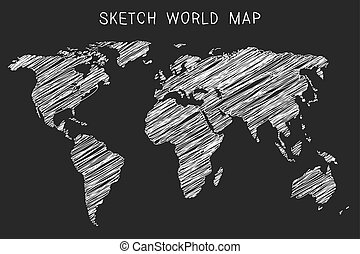 Hand drawn hatched world map