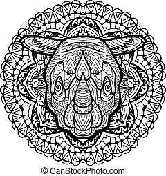 Hand-drawn head of a Rhino on the background circular tribal pattern. Coloring