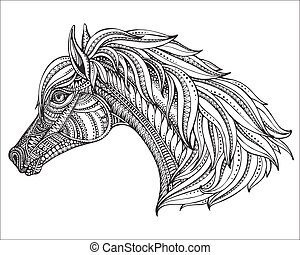 Hand drawn head of horse in graphic ornate style. Black and...