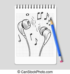Hand drawn headphones and music notes on realistic notebook page