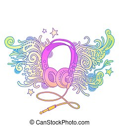 Hand drawn headphones with doodle decor