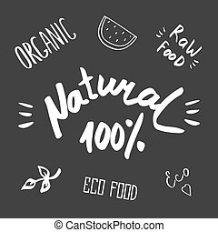 Hand drawn healthy food brush lettering. Organic, eco food