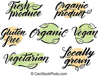 Hand drawn healthy food letterings. Label, logo template -...