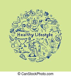 Hand drawn healthy lifestyle concept