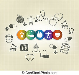Hand drawn Healthy living - Health care symbol set, hand ...