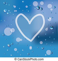 Hand drawn heart and raindrops on glass