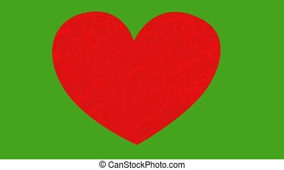Hand drawn heart animation on green background