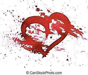hand-drawn, heart., aquarelle, rouges