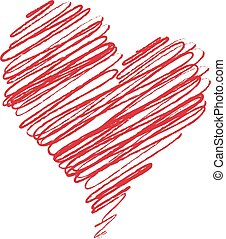 Hand Drawn Heart Illustration Isolated On A White Background. Vector Sketch Style Illustration.