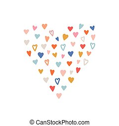 Hand drawn heart isolated on white background. Valentines Day card. Handmade heart icon for valentines, wedding, birthday. Collection of color hearts. Romantic design elements. Vector illustration