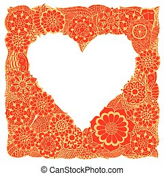 Hand drawn Heart - Monochrome Frame from abstract flowers in...
