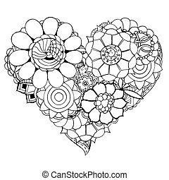 Heart of flower - Hand drawn Heart of flower doodle...