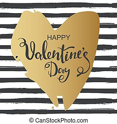 Hand drawn heart on striped background. Valentines day card with gold heart.