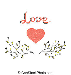 hand drawn heart with blooming branches
