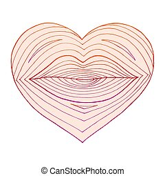 Hand drawn heart with lips inside. Linear shape transformation from lips to the heart. Colorful lines on white background. Vector illustration