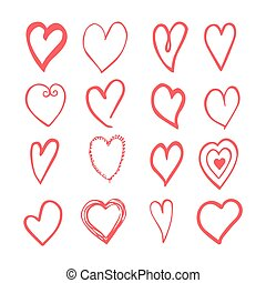 Hand drawn hearts. Design elements for Valentine day.