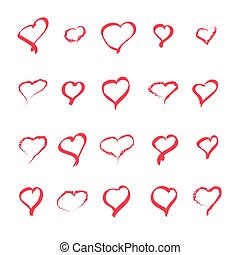 Hand drawn hearts. Design elements for Valentine s day. White background. Vector illustration.