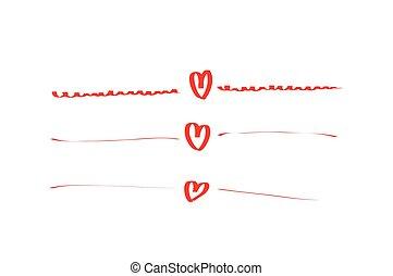 hand drawn hearts set frame
