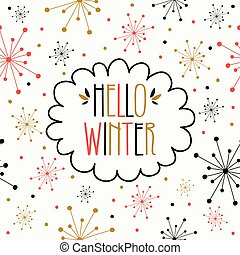 Hello Winter Greeting Card - Hand Drawn Hello Winter ...