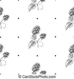 Hand Drawn Herbal Natural Seamless Pattern