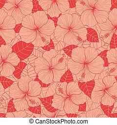 Hand drawn hibiscus pattern