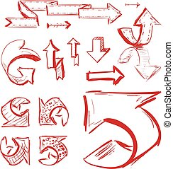 Hand drawn highlighter elements. Vector arrows
