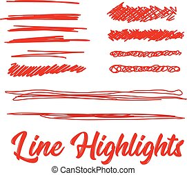 Hand drawn highlighter elements. Vector background