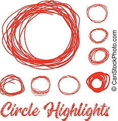 Hand drawn highlighter elements. Vector circles