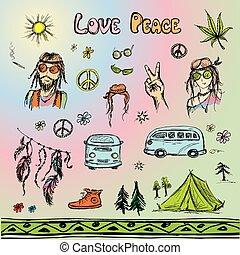 Hand drawn hippie set, sketchy design