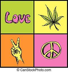 hippie symbols set - victory, love, peace and marijuana
