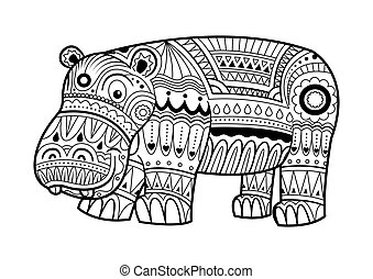 Hand drawn Hippopotamus for coloring book