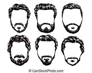 hair and beards set