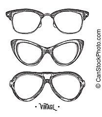 Hand drawn hipster glasses. Vintage vector illustration. Sketch style.